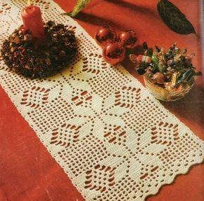 Meninas !    Escolhi hoje para vocês esses dois modelos de caminho de mesa em crochê .São simples e fáceis de fazer!