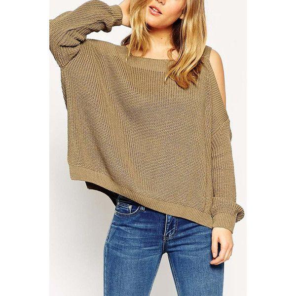 Yoins Coffee Cold Shoulder Irregular Hem Split Sweater (160 HRK) ❤ liked on Polyvore featuring tops, sweaters, coffee, cold shoulder tops, cut shoulder tops, coffee sweater, brown tops and brown sweater