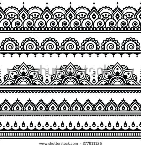 Mehndi, Indian Henna tattoo seamless pattern, design elements by RedKoala #vector #India #Hindi