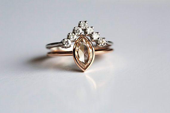 Modern Diamond Wedding Set Unique Ring Set Marquise by MinimalVS