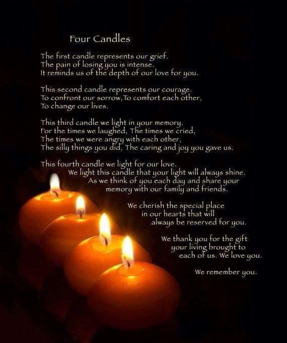 How beautiful and true. I'll be lighting 4 candles for you from now on.  I miss you so much my sweet angel.  You are loved beyond words. Love you Nini......