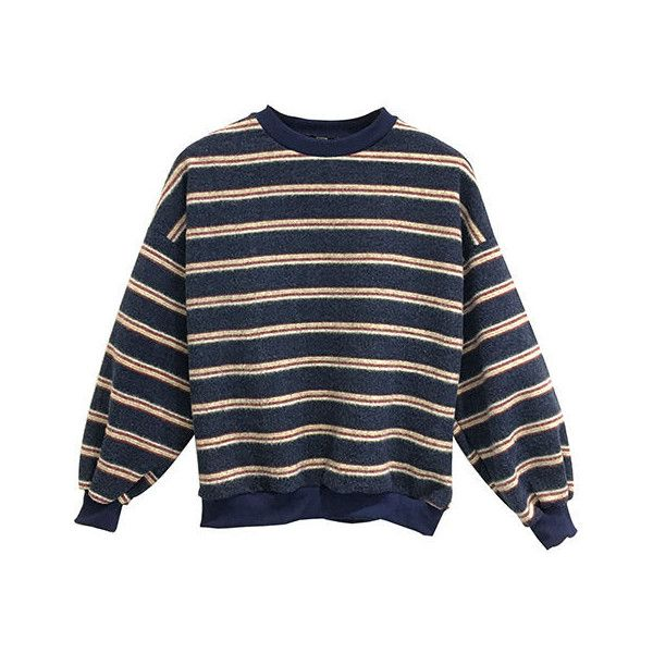 Striped Pullover (€26) ❤ liked on Polyvore featuring tops, sweaters, shirts, long sleeved, pullover sweater, long-sleeve crop tops, blue shirt, long sleeve shirts and striped long sleeve shirt