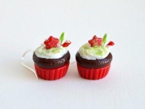 orecchini in fimo con cupcake per natale
