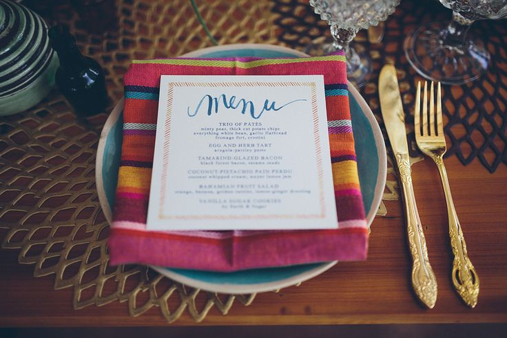 globally inspired brunch #menu / paper by makemerryevents.com, photo by daniellateulade.com