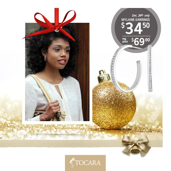 On the Fourth Day of Christmas, Tocara gave to me...  December 24th - Mylaine earrings at HALF PRICE.  Mylaine earrings for only $34.50 (reg. price $69) | DiAmi - Sterling Silver - Rhodium plated.  To purchase ask your consultant or click the image.