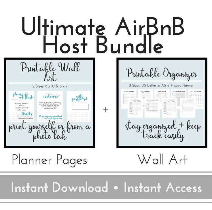 AirBnB Organizer + Wall Art, AirBnB Host Planner, Business