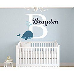 """Personalized Whale Name Wall Decal for Boys - Nursery Room Decor - Nursery Nautical Wall Decals - Nautical Wall Decor Vinyl (36""""W x 22""""H)"""