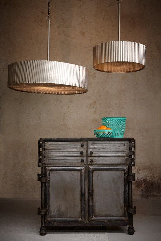 $968 Featuring a corrugated side and perforated base the Frisco lamp in nickel is a statement in any environment.