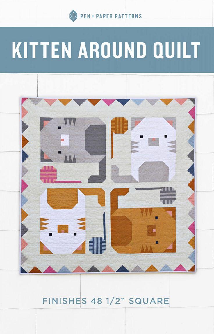 Kitten Around Quilt Pattern by SwatchesFabrics on Etsy https://www.etsy.com/listing/568021366/kitten-around-quilt-pattern