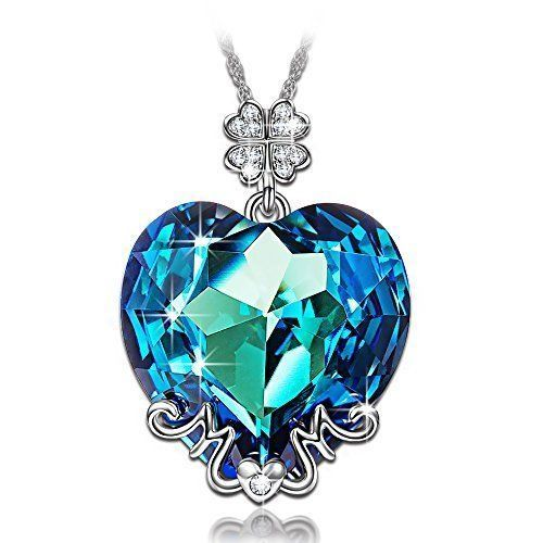 Mothers Day Gift Necklace Pendant Swarovski For Mother Ocean Blue Daughter NEW #K
