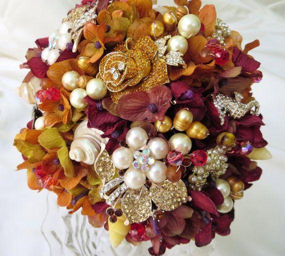 Autumn Bridal Bouquet, Sea Shell Bouquet, Seashell wedding bouquet,Brooch Bouquet, Fabric Bouquet