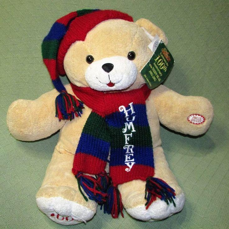 "Large 24"" Dan Dee Humfrey TALKING Teddy Bear Plush Winter 100th Anniversary Toy #DanDee"
