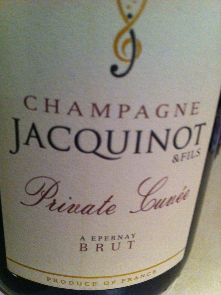 Champagne Jacquinot & Fils Private Cuvee (French, of course), meant to he a celebration, bit not yet, alas.