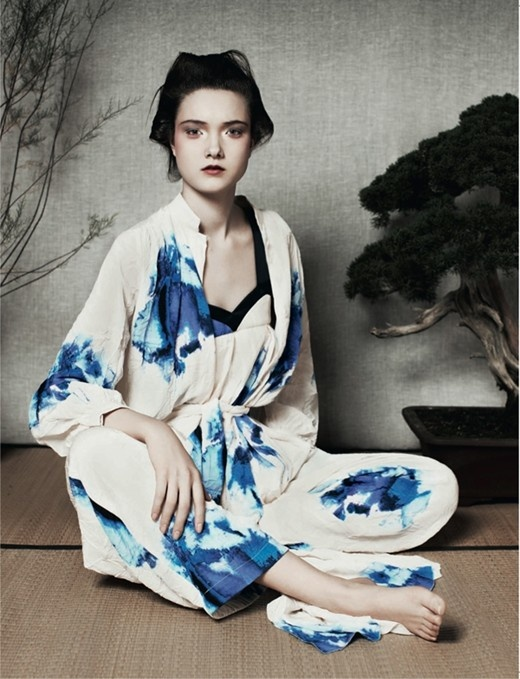 blue and white print silk kimono / pijamas - Photography by Ben Toms, Styling by Robbie Spencer