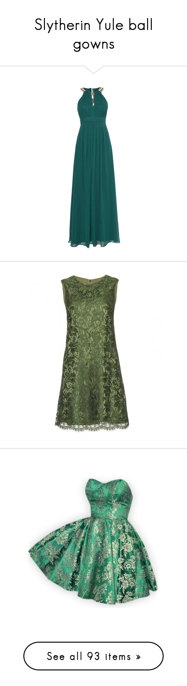 """""""Slytherin Yule ball gowns"""" by weeby ❤ liked on Polyvore featuring dresses, green, women, green dress, green sleeveless dress, halter top, keyhole maxi dress, green maxi dress, vestidos and vestiti"""