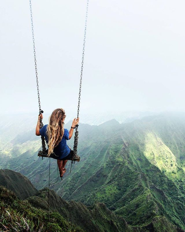 Swing at the top of The Haiku Stairs in Oahu, Hawaii Photo by @caressame