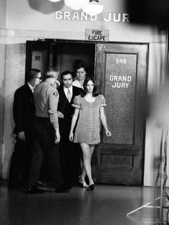 Manson Family Member Susan Atkins Leaving the Grand Jury Room After Testifying Premium Photographic Print by Ralph Crane at Art.com