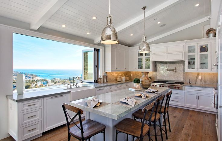 orange county Ocean View with beach style tile murals kitchen and vaulted ceiling collapsing window