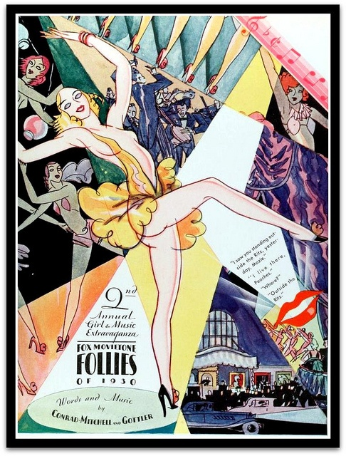 Vintage Art Deco Film Advert for Follies of 1930