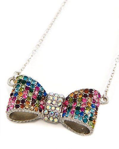 """Silvertone Multi Color Rhinestone Bow Tie Pendant Necklace Fashion Jewelry PammyJ Necklace. $19.99. COMES IN FOIL GIFT BOX. LEAD & NICKEL COMPLIANT. MULTI COLOR CRYSTALS. 17"""" LONG WITH EXTENSION. BOW TIE PENDANT NECKLACE. Save 39% Off!"""