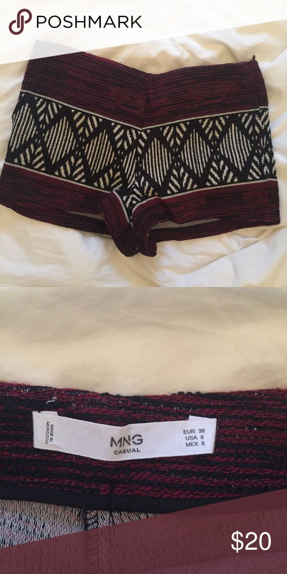 Mango shorts Tribal print shorts with hidden side zip closure. Maroon, white and black. Mango Shorts