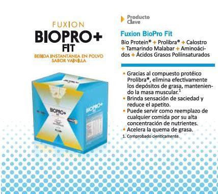 BIPRO FIT: Bio Protein + Prolibra +Calostro+Tamarindo Malabar+Aminoácidos+Ácidos GrasosPoliinsaturados. Entre sus beneficios están el brindar la sensación de saciedad, eliminar depósitos de grasa sin perder masa muscular y otros...