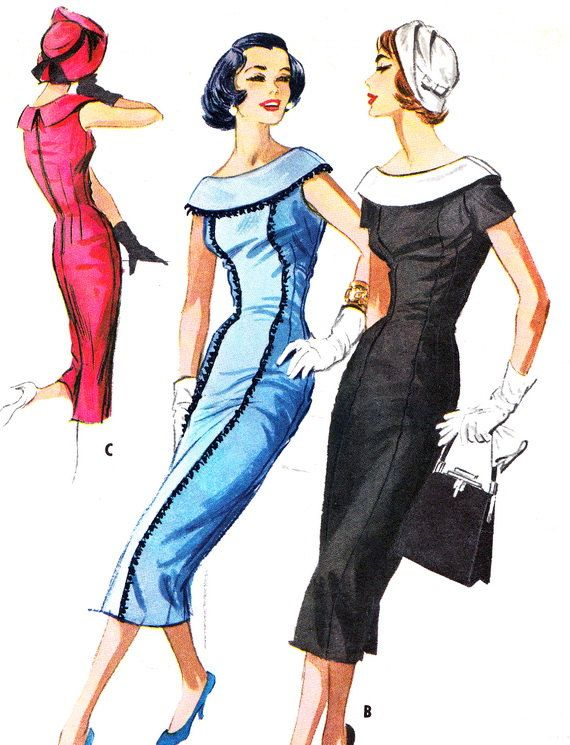 1950s Evening Dress Pattern McCalls 4145 Cape by paneenjerez - Love the trim on the blue one!