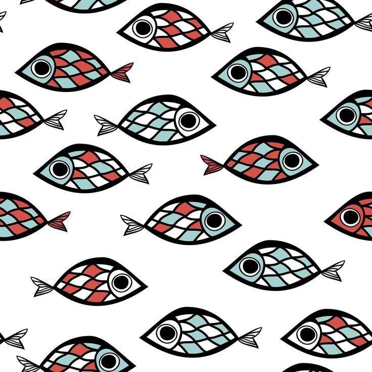 Fisk Barn Roliga Turkosa Röda fototapet/tapet från Happywall
