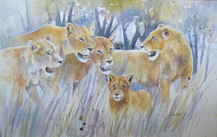 Let's Take him Hunting - watercolours 50 x 31.5 cm