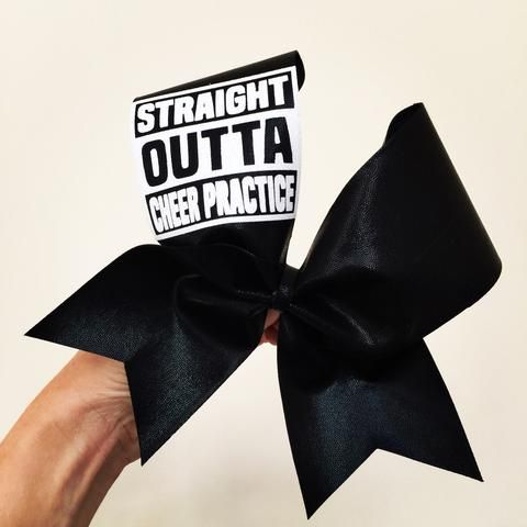 STRAIGHT OUTTA CHEER PRACTICE BLACK SPANDEX CHEER BOW WITH GLITTER WORDS! Ponytail Holder Attached! Free Shipping!