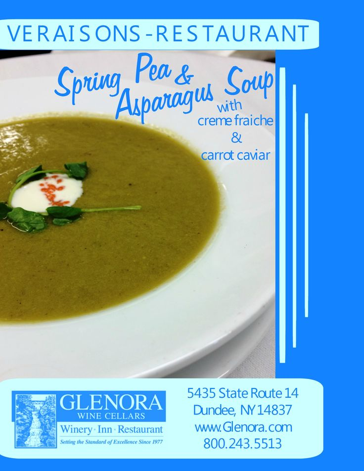 Glenora Wine Cellars is now offering a complimentary food and wine pairing experience in the Retail Shop, every Thursday from 11-4pm. An item from the current menu at Veraisons Restaurant will be available to taste and will be paired with one of our wines. This week (5/14) we present: Spring Pea & Asparagus Soup ~ featured on our Lunch and Dinner menus. #glenorawine #veraisons
