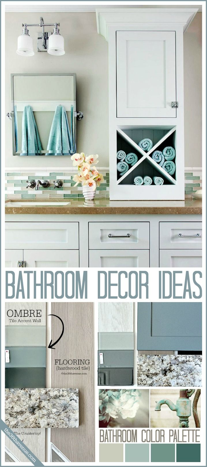 Bathroom Decor Ideas . Mix neutrals with ombre colors is so soothing!