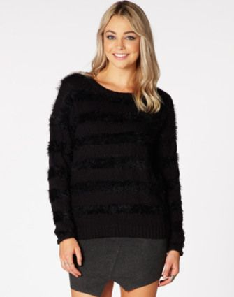 Fluffy Stripe Knit Jumper WAS $59.99 NOW $28.00 http://richgurl.com/linkout/1223073