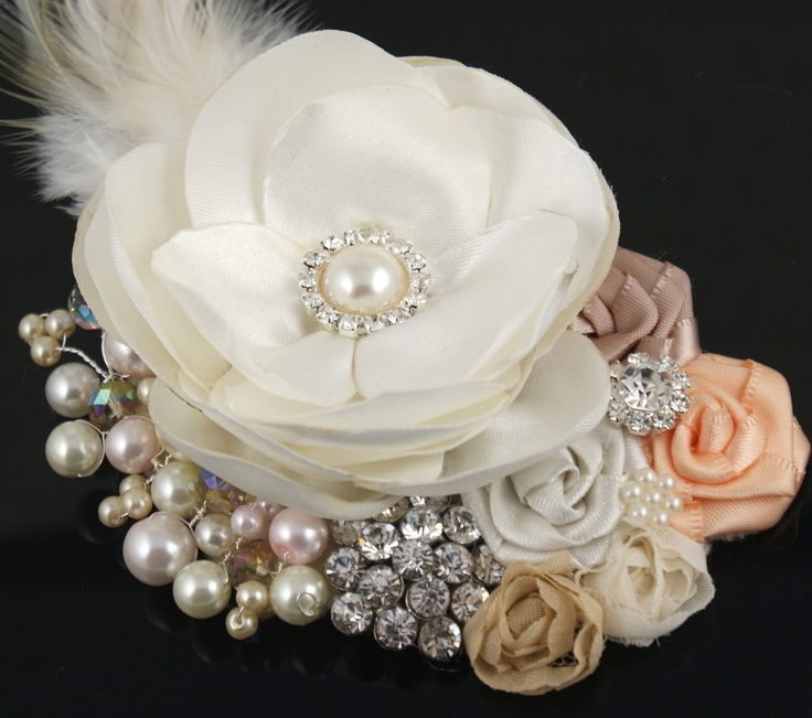 Bridal Hair Fascinator Clip with Satin Flowers, Pearls, Feathers and Jewels