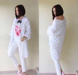 Tina's handicraft : long knitting cardigan