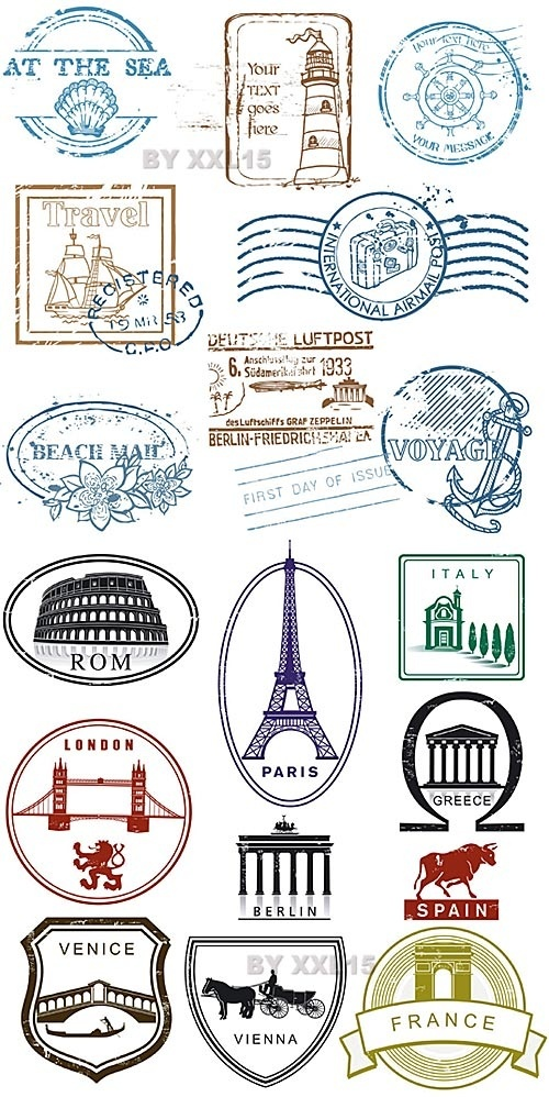 Travels stamps