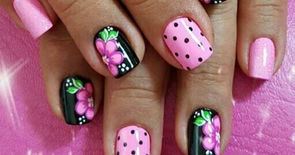 uñas rosa y negro con flor | mis uñas | Pinterest | Flower, Polka dots and Black