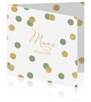 Trendy geboortekaartje voor een meisje gouden glitter confetti