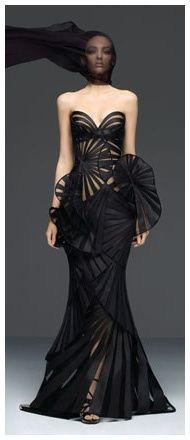Versace -  Black strapless origami gown