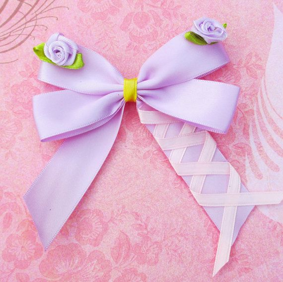 Rapunzel hair bow Disney inspired hair clip tangled headband girls teen woman summer vacation