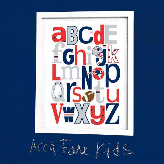 8 x 10  PATRIOTS football ABC Nursery Art Print by AreaFareKids, $15.00
