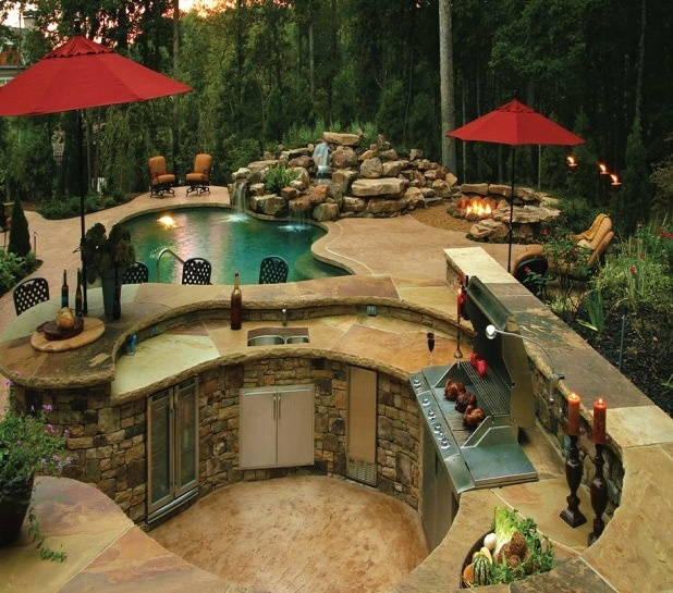 Some day pool firepit bbq area it will be mine yes it will be mine dream home - Landscape elements that you should consider for your yard ...