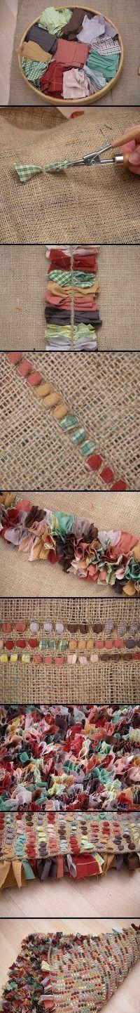 alfombra arpillera y pedazos tela