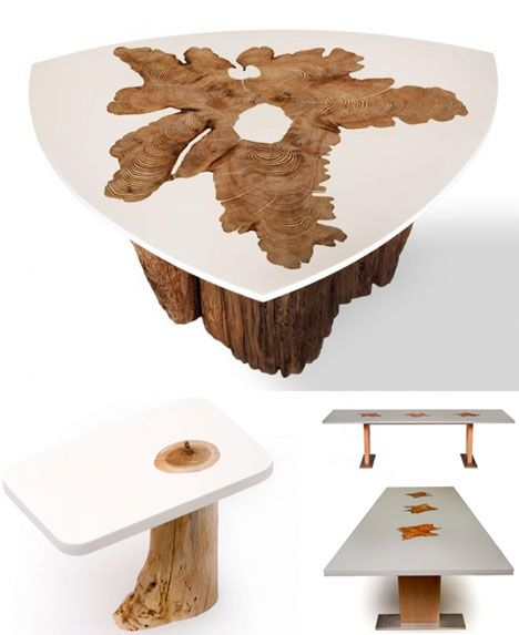 Modern Log Furniture Fuses Sliced Trunks U0026 Organic Resins