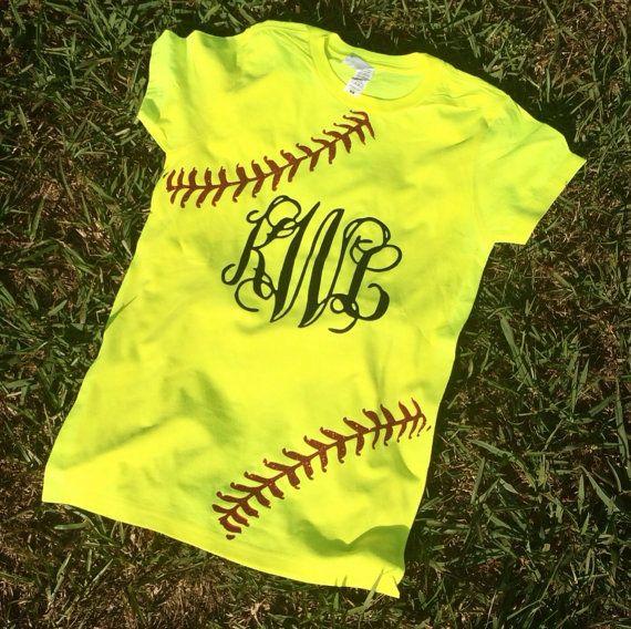 Glitter Monogram Softball Shirt on Etsy, $20.00