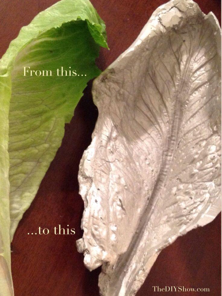 Plaster of Paris leaf platter using romaine lettuce, can use elephant ears, large plant leaves, etc