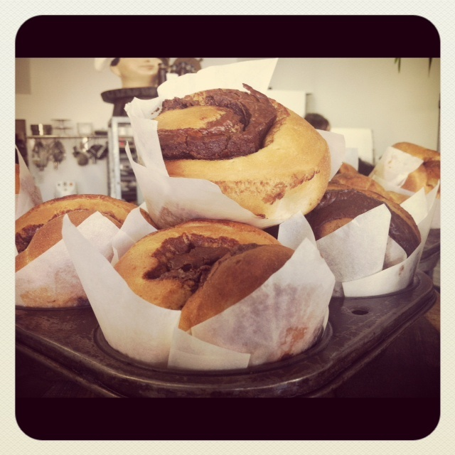 Freshly baked cinnamon and nutella brioche! Thanks to The Cook and Baker!