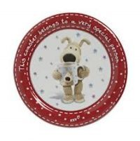"""£2.99 - Boofle Coaster Red Stars Made from fine china. A red rimmed coaster picturing Boofle in the middle holding a Boofle mug! A lovely boofle coaster perfect for resting your boofle mug on With the words """"This coaster belongs to a very special person"""""""