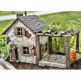 Summer Fairy Garden Cottage with Pergola & Hinged Door (doors open) Dimensions: 9.5″ Tall | 14″ Wide | 7.25″ Deep NOT A TOY – Miniatures are small items that pose potential choking hazards to small ch