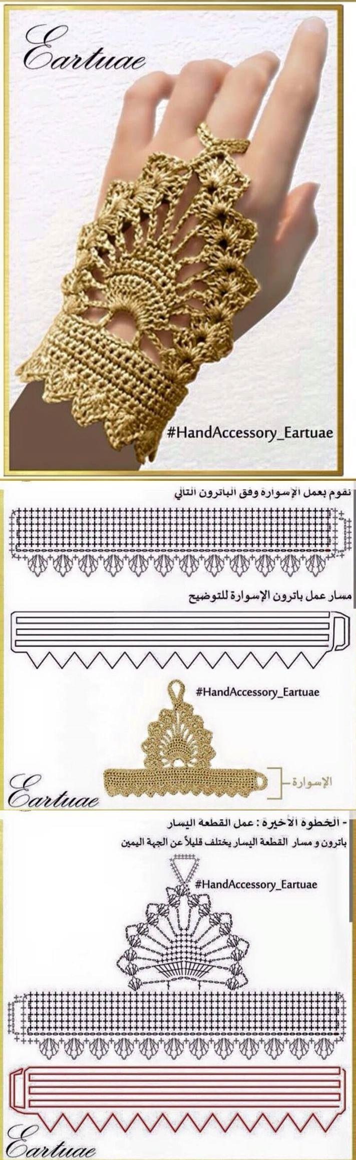 Crochet Hand Accessory - Chart ❥ 4U hilariafina http://www.pinterest.com/hilariafina/: